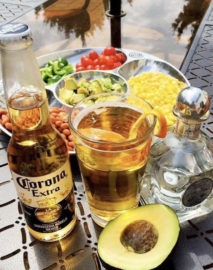 An array of colorful appetizers and drinks from El Campesino