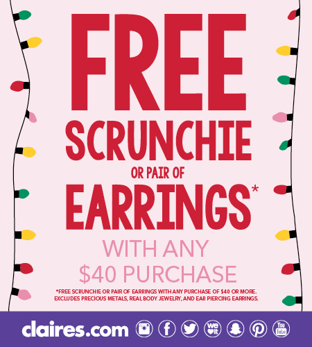Free Scrunchie or Pair of Earrings at Claire's!