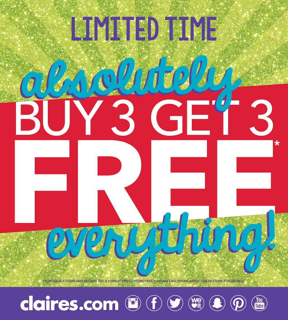Entire Store, Absolutely Everything Buy 3, Get 3 Free!