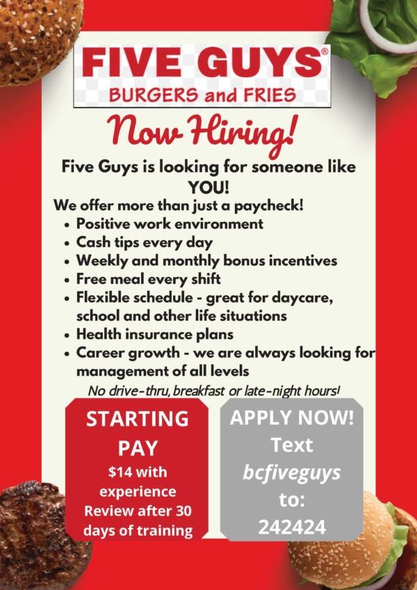 Five Guys Hiring Flyer